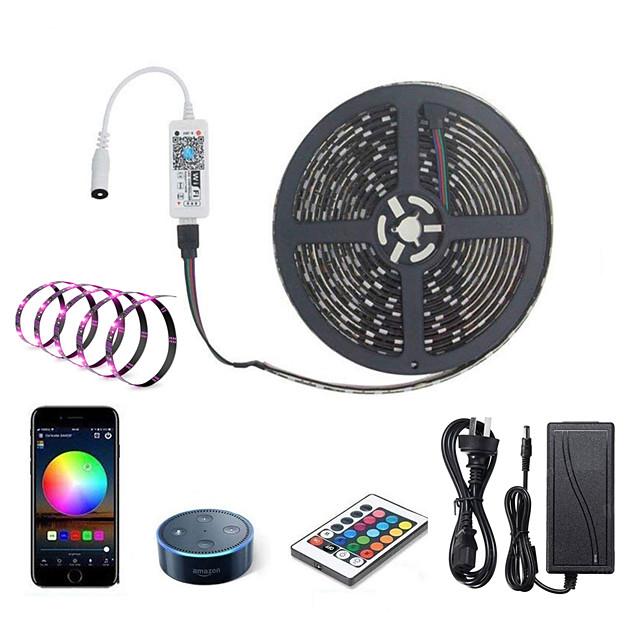 ZDM LED Light Strips RGB Tiktok Lights WiFi Intelligent Remote Dimming 5M 300 LEDS 5050 SMD with IR24 key Controller Kit DC12V