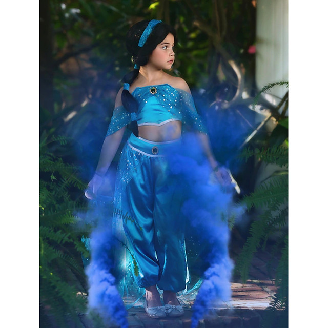 Princess Princess Jasmine Cosplay Costume Outfits Girls' Movie Cosplay Cosplay Halloween Blue Top Pants Children's Day Masquerade Tulle Polyester