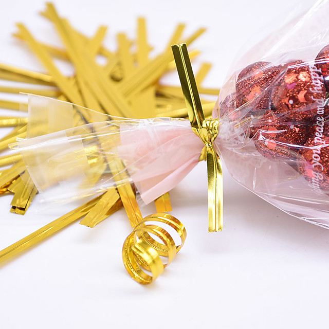 800pcs/Pack Golden Metallic Twist Tie Wire Candy Cookie Bag Sealing Belt For Wedding Birthday Party Gift Wrapping Supplies