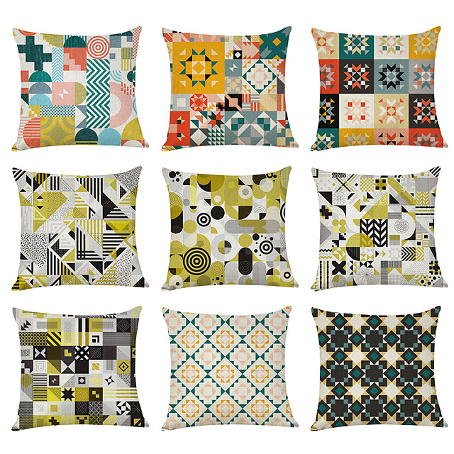9 pcs Linen Pillow Cover, Geometric Watercolor Linen Casual Modern Square Traditional Classic