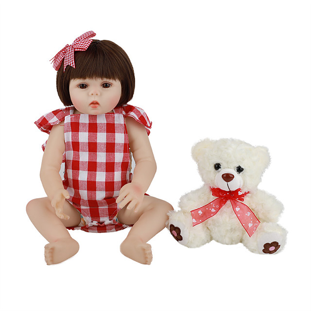 FeelWind 18 inch Reborn Doll Baby & Toddler Toy Reborn Toddler Doll Baby Girl Gift Cute Lovely Parent-Child Interaction Tipped and Sealed Nails Full Body Silicone LV047 with Clothes and Accessories