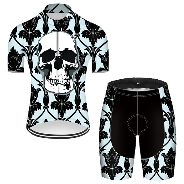 21Grams Men's Short Sleeve Cycling Jersey with Shorts Nylon Polyester Black / Green Novelty Skull Floral Botanical Bike Clothing Suit Breathable 3D Pad Quick Dry Ultraviolet Resistant Reflective