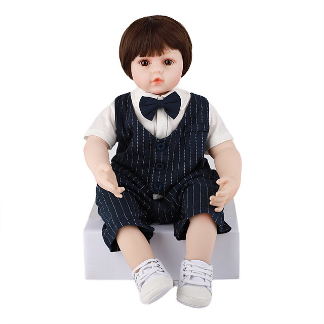 FeelWind 24 inch 6 inch Reborn Doll Baby & Toddler Toy Reborn Toddler Doll Baby Boy Gift Cute Lovely Parent-Child Interaction Tipped and Sealed Nails Full Body Silicone LV061 with Clothes and