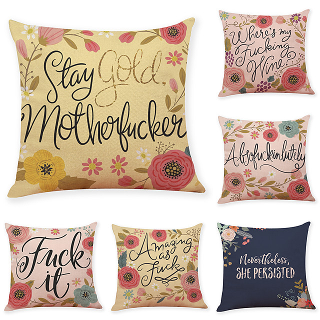 9 pcs Linen Pillow Cover, Flower Letter Casual Modern Square Traditional Classic