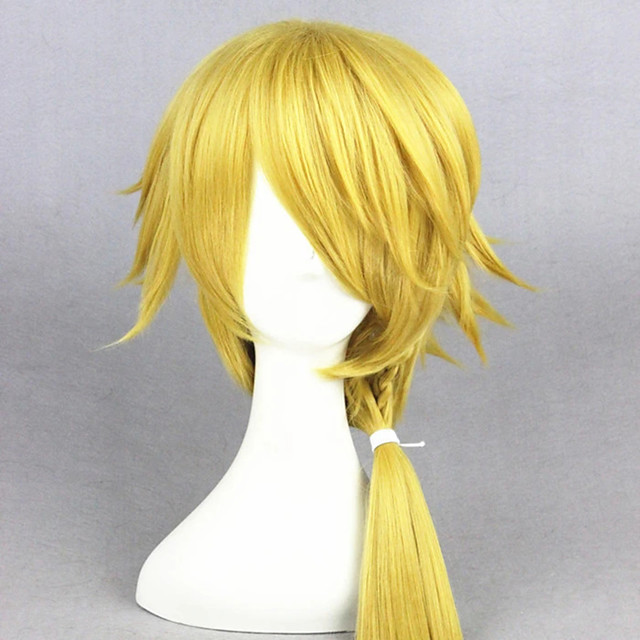 Cosplay Costume Wig Cosplay Wig Touken Ranbu Curly Cosplay Asymmetrical With Bangs With Ponytail Wig Blonde Short Light golden Synthetic Hair 14 inch Women's Anime Cosplay Party Blonde
