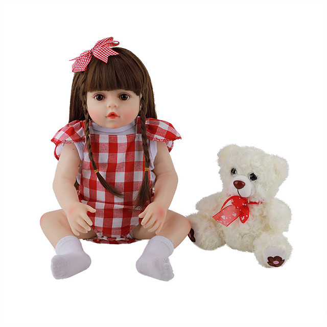 FeelWind 18 inch Reborn Doll Baby & Toddler Toy Reborn Toddler Doll Baby Girl Gift Cute Lovely Parent-Child Interaction Tipped and Sealed Nails Full Body Silicone LV084 with Clothes and Accessories