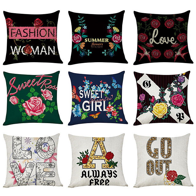 9 pcs Linen Pillow Cover, English Alphabet Floral Modern Square Traditional Classic