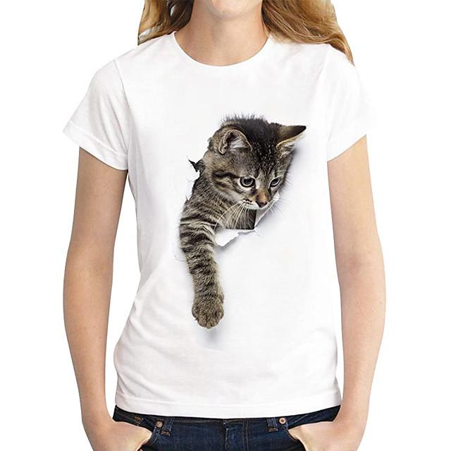 Women's T shirt Cat Graphic 3D Print Round Neck Tops 100% Cotton Basic Basic Top Dark Brown Lace Panda Cat