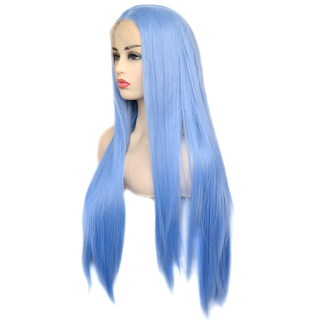 Vogue Queen Light Blue Synthetic Lace Front Wig Long Silky Straight Hair Daily Wearing For Women