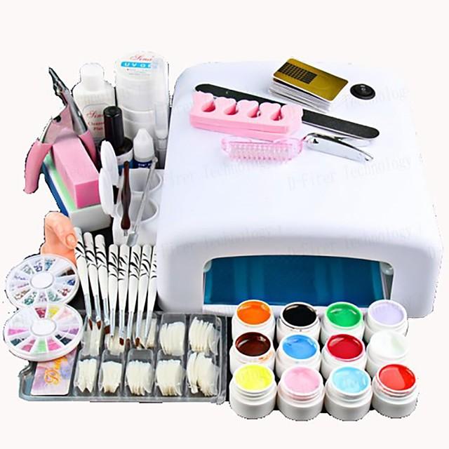 Nail Designs 2020 25 Pcs Nail Acrylic Set Kits 12 Colors UV gel 36W LED UV Nail Lamb/ Nail Dryer False Nail Basic Nail Art Tools for Beginner Nail salon In Stock