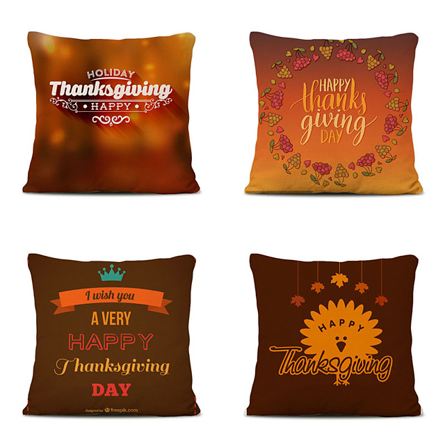 Set of 4 Thanksgiving Linen Square Decorative Throw Pillow Cases Sofa Cushion Covers 18x18