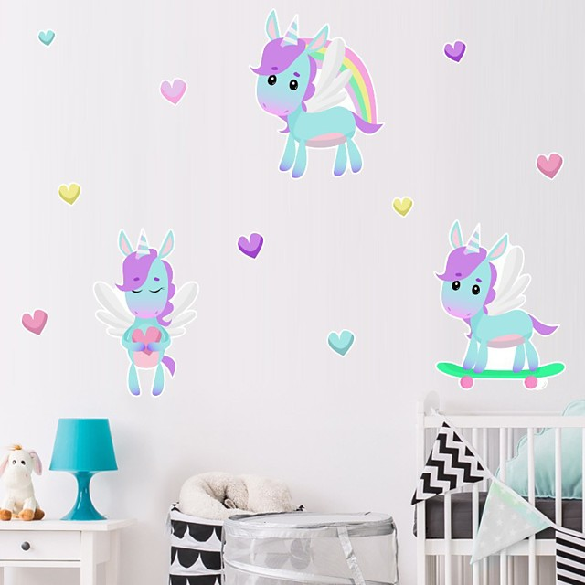 Unicorn Decorative Wall Stickers Heart Nursery Kids Room