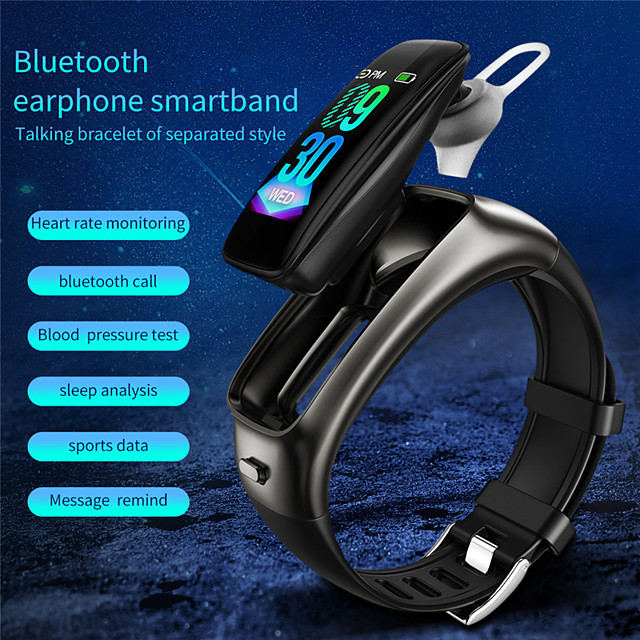 TB02 Smart Watch Heart Rate Monitor Bluetooth Earphone Call Fitness Tracker Blood Pressure Smartwatch for iOS Android