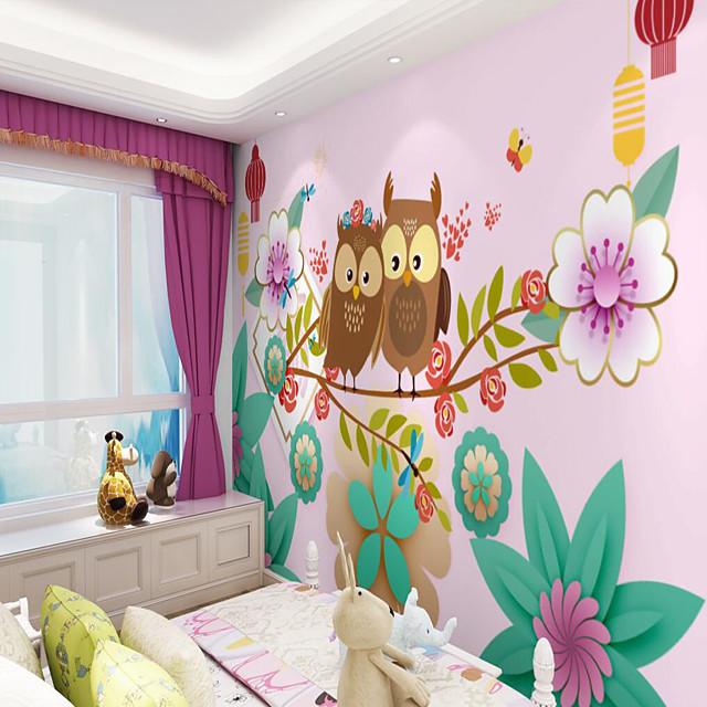 Custom Self Adhesive Mural Wallpaper Owl Children Cartoon Style Suitable For Bedroom Children's Room School Party Art Deco   Room Wallcovering