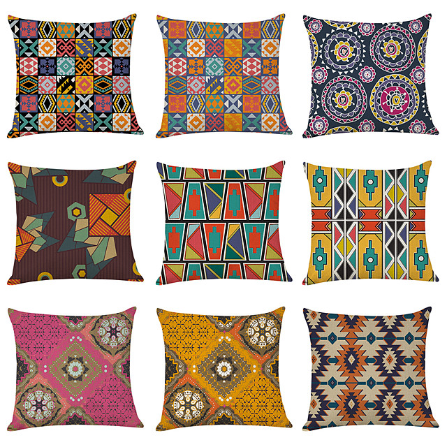 9 pcs Linen Pillow Cover, Morocco Style Geometric Casual Modern Square Traditional Classic