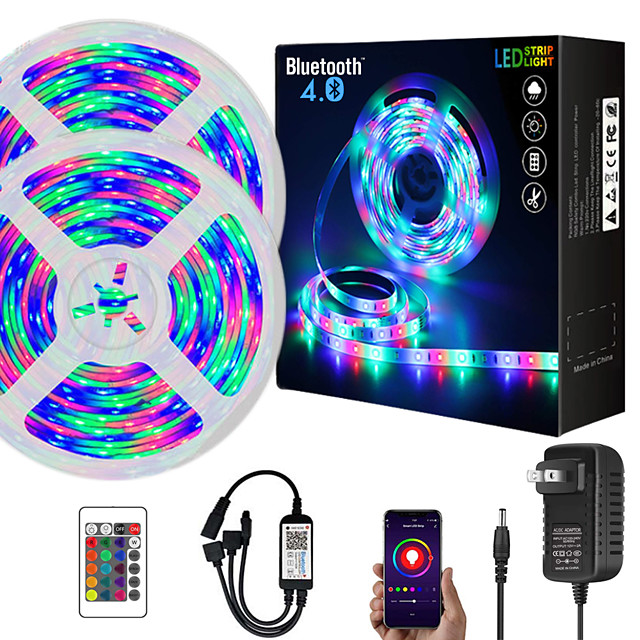 ZDM  10M (2*5M) App Intelligent Control Bluetooth Music Sync Flexible Led Strip Lights Waterproof 2835 RGB SMD 540 LEDs IR 24 Key Bluetooth Controller with 12V 2A Adapter Kit
