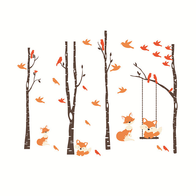 Fox Forest Still Life / Floral / Botanical Wall Stickers Plane Wall Stickers Decorative Wall Stickers PVC Home Decoration Wall Decal Wall / Window Decoration 1pc