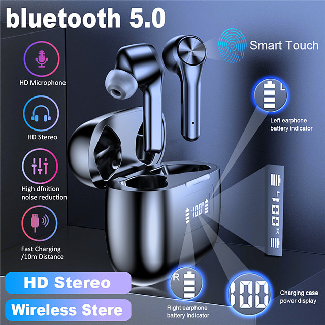 LITBest T9 TWS True Wireless Earbuds Bluetooth 5.0 with Microphone Charging Box Auto Pairing LED Power Display for Travel Entertainment