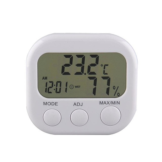 New Digital Thermometer Humidity Meter HYGRO Hygrometer Air Clock TA638 White