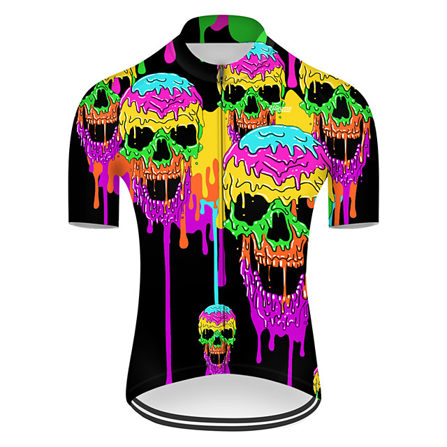 21Grams Men's Short Sleeve Cycling Jersey Nylon Polyester Violet Gradient Novelty Skull Bike Jersey Top Mountain Bike MTB Road Bike Cycling Breathable Quick Dry Ultraviolet Resistant Sports Clothing