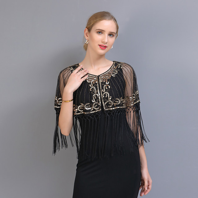 Half Sleeve Shawls Tulle Party / Evening / Office / Career Women's Wrap With Tassel / Paillette