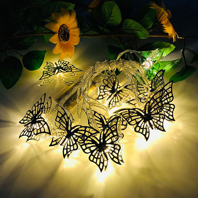 3M 20LED New Butterfly LED String Lights Three 5th Battery-Powered Wedding Party Holiday Birthday Party Christmas Living Room Bedroom Decoration Light String Without Battery