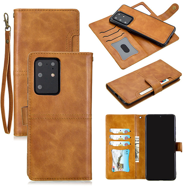 Case For Samsung Galaxy S20/S20 Plus/S20 Ultra/S10/S10 Plus/S10 Lite/S9/S9 Plus/Note 10  Card Holder / Shockproof / Flip Full Body Cases Solid Colored PU Leather / TPU