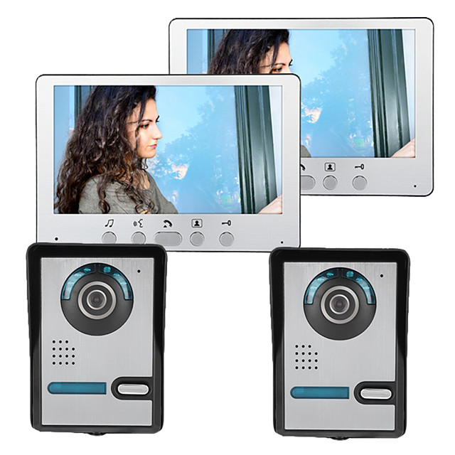 Wired 7 Inch Wire Video Doorphone Two to Two Video Intercom with Unlock Function