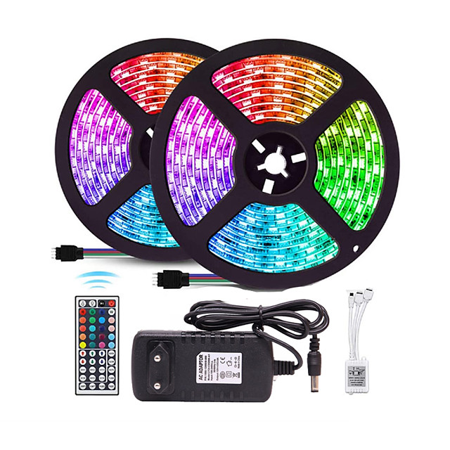 Waterproof 10M (2*5M) LED Strip Lights RGB Tiktok Lights 2835 600led Strips Lighting Color Changing with 44 Key IR Remote Ideal for Home Kitchen Christmas TV Back Lights DC 12V