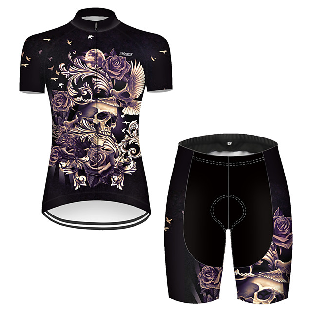 21Grams Women's Short Sleeve Cycling Jersey with Shorts Nylon Polyester Black / Yellow Novelty Skull Floral Botanical Bike Clothing Suit Breathable 3D Pad Quick Dry Ultraviolet Resistant Reflective