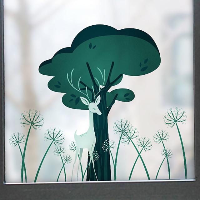 60*58cm Cartoon Deer And Tree Scenery Pattern Matte Window Sticker Bathroom Kitchen Kids Room Shop Living Room Bedroom Balcony Window Film