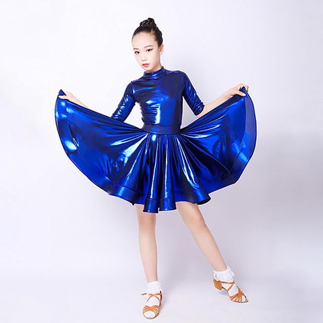 Latin Dance Kids' Dancewear Dress Pleats Girls' Training Daily Wear Polyester