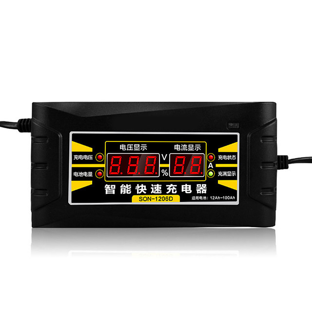 12V 6A EU/US 110-240V AC Input Automatic Smart Battery Charger Maintainer Desulfator for Lead Acid Batteries Car Battery Charger