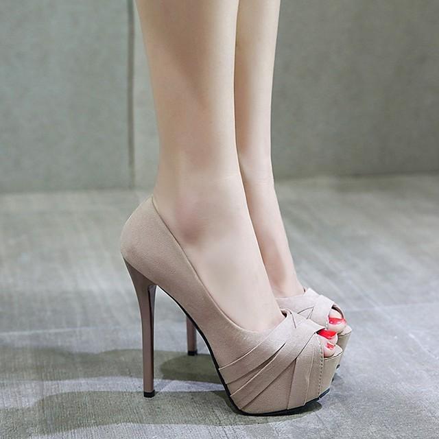 Women's Heels / Sandals Summer Stiletto Heel Open Toe Daily PU Almond / Black