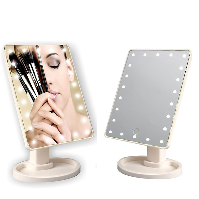 22 LED Lights Touch Screen Makeup Mirror Bright Adjustable USB Use 360 Convenient Rotating Mirror