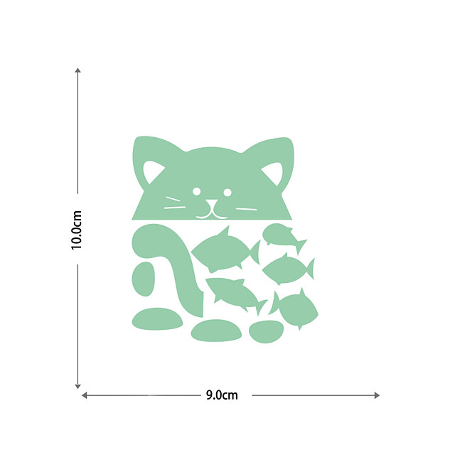 Luminous Stickers Cats And Small Fish Home Background Decoration Can Be Freely Pasted And Removable Stickers
