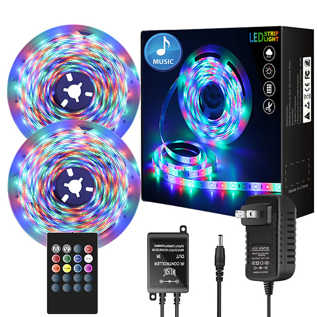 32.8ft  2 x 5 Meter Music Synchronous Happy Multicolour Light Strip 2835Waterproof RGB LED Flexible Light Strip with 20 key IR Controller Optional with Adapter Kit DC12V