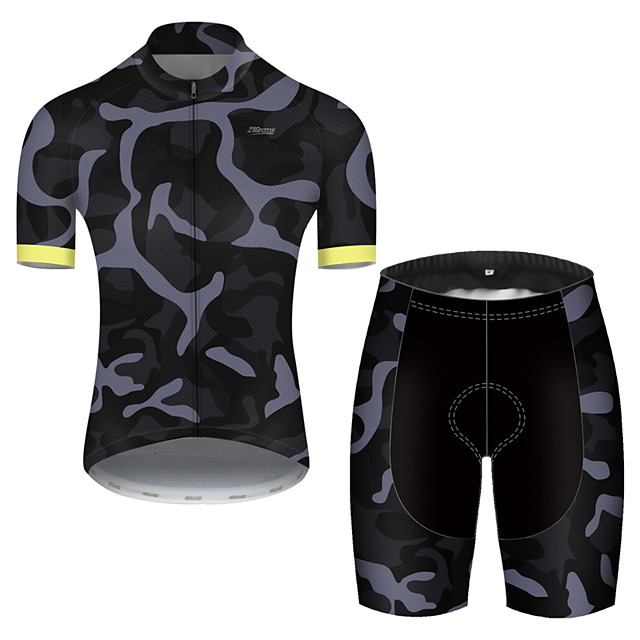 21Grams Men's Short Sleeve Cycling Jersey with Shorts Nylon Polyester Camouflage Patchwork Camo / Camouflage Bike Clothing Suit Breathable 3D Pad Quick Dry Ultraviolet Resistant Reflective Strips