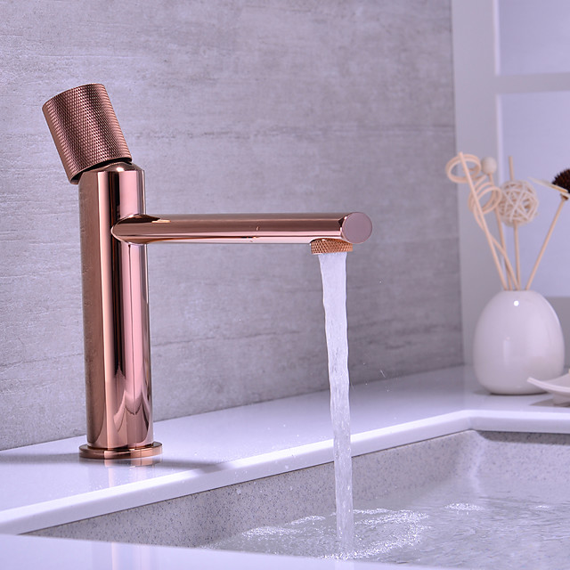 Brass Basin Faucet Balcony Hot and Cold Rose Gold Washbasin Basin Faucet