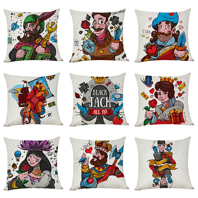 9 pcs Linen Pillow Cover, Poker Character Casual Modern Square Traditional Classic
