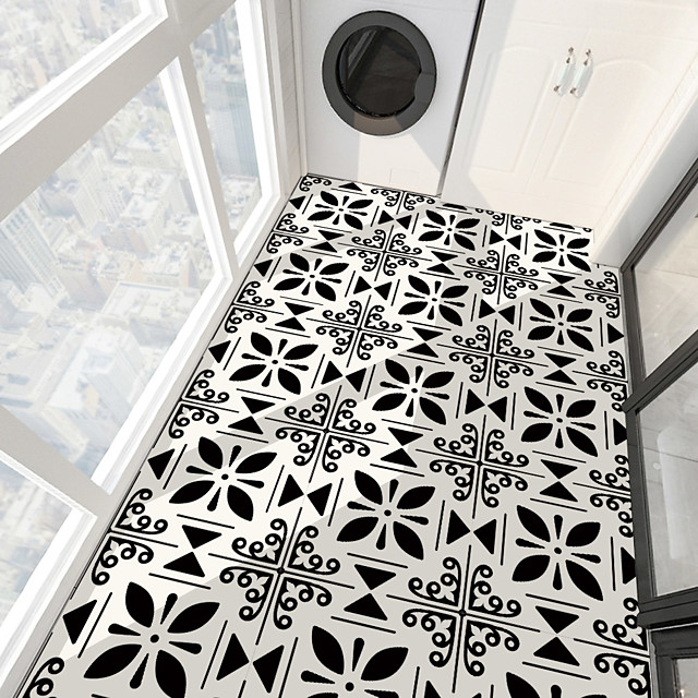 PVC antiskid twill printing four leaf grass ground paste bathroom bedroom living room DIY floor paste