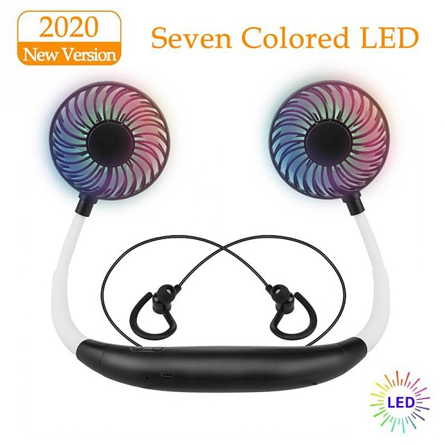 LITBest X8 Neckband Headphones Neck Fans Summer Outdoor Wireless Bluetooth 5.0 Stereo Headphones LED Color Fans 2000mAh Rechargeable