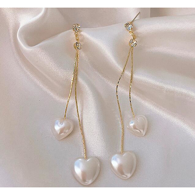 Women's Drop Earrings Classic Heart Love Classic Vintage Earrings Jewelry White For Gift Daily 1 Pair