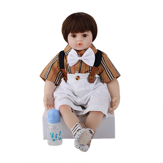 FeelWind 24 inch Reborn Doll Baby & Toddler Toy Reborn Toddler Doll Baby Boy Gift Cute Lovely Parent-Child Interaction Tipped and Sealed Nails 3/4 Silicone Limbs and Cotton Filled Body LV079 with