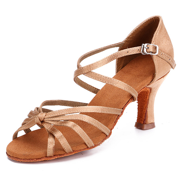 Women's Latin Shoes / Salsa Shoes Satin Buckle Heel Buckle Thick Heel Customizable Dance Shoes Black / Brown / Beige