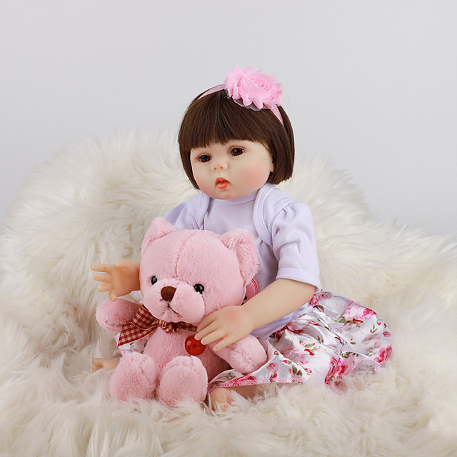 FeelWind 18 inch Reborn Doll Baby & Toddler Toy Reborn Toddler Doll Baby Girl Gift Cute Lovely Parent-Child Interaction Tipped and Sealed Nails Full Body Silicone LV041 with Clothes and Accessories
