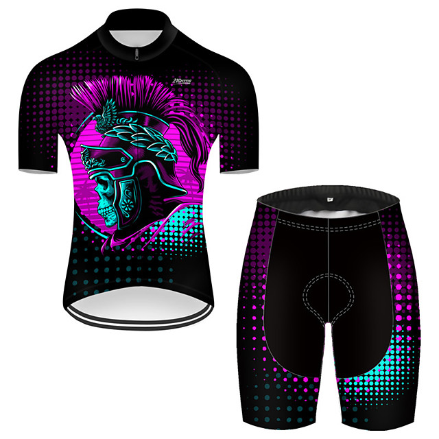 21Grams Men's Short Sleeve Cycling Jersey with Shorts Nylon Polyester Black / Red 3D Novelty Skull Bike Clothing Suit Breathable 3D Pad Quick Dry Ultraviolet Resistant Reflective Strips Sports 3D