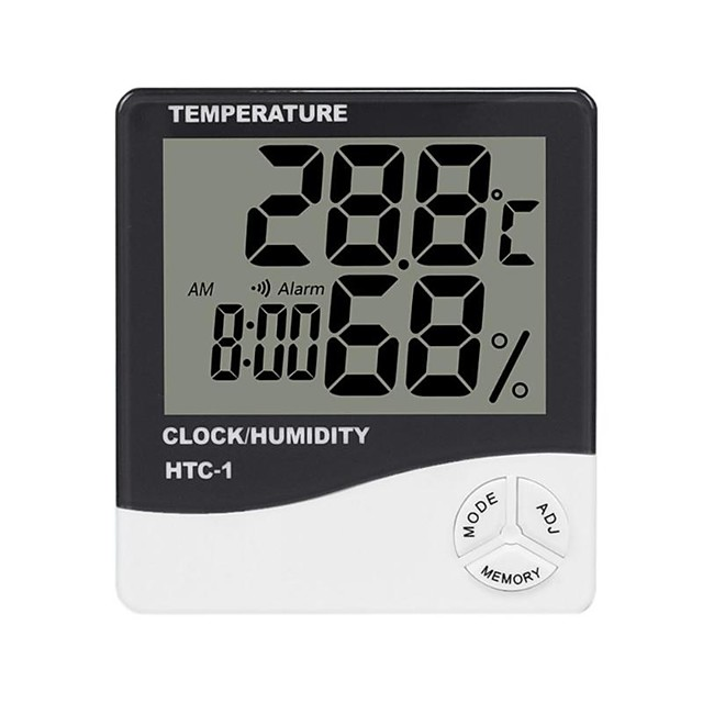 HTC-1 Thermohygrometer Single Temperature Large Screen Household Electronic Thermohygrometer With Alarm Clock