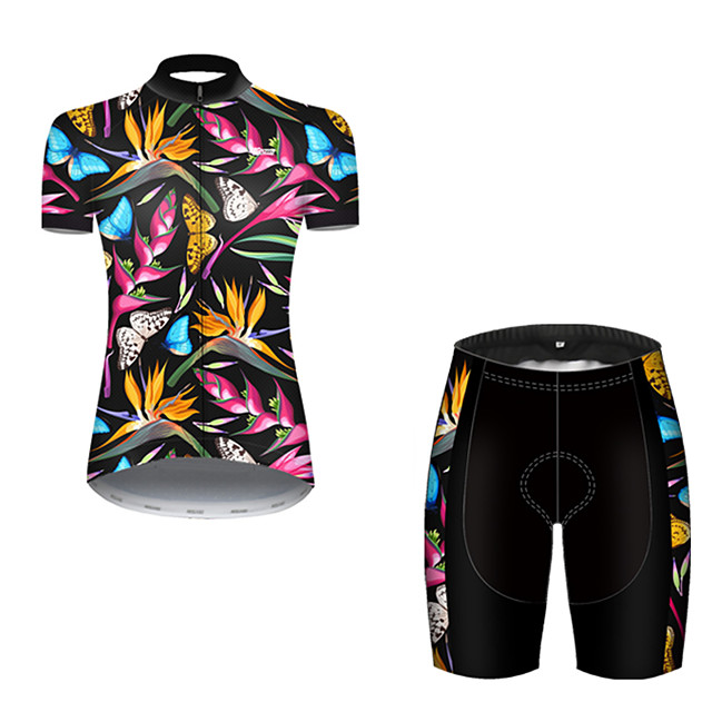 21Grams Women's Short Sleeve Cycling Jersey with Shorts Nylon Polyester Black / Blue Butterfly Floral Botanical Bike Clothing Suit Breathable 3D Pad Quick Dry Ultraviolet Resistant Reflective Strips