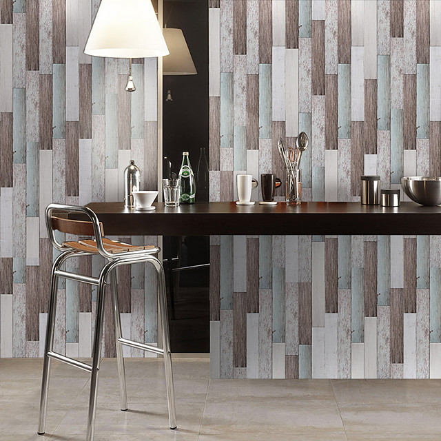 Simulation Fir Pattern Floor Stickers Color Wall Stickers Pvc Waterproof Wear-resistant Thickening Stickers Rainbow Color Wood Grain